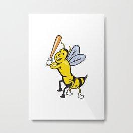 Killer Bee Baseball Player Batting Isolated Cartoon Metal Print