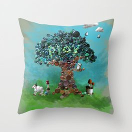 Playing with Buttons and Wool Throw Pillow