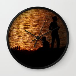 limnos - sunset couple Wall Clock
