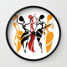 Abstract African dancers silhouette. Figures of african women. Wall Clock