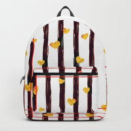 Gold Glitter Hearts on Black and Red Stripes Backpack