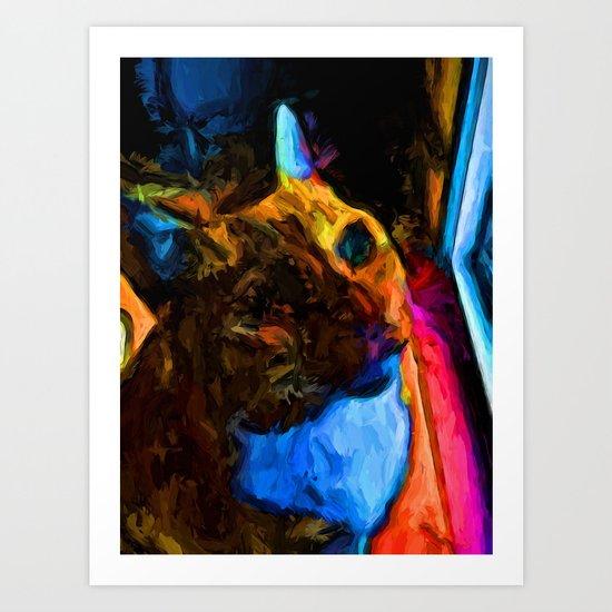 Orange Cat with some Orange and Pink Art Print