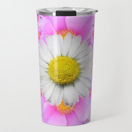 Chocolate Brown Color Shasta Daisies & Rose Pattern Garden Art Travel Mug