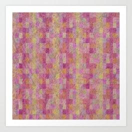 Soft Textured Muted Checkerboard Pattern Art Print