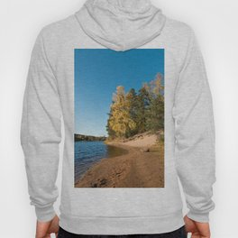 River with sandy shore with trees in autumn colors on a sunny day Hoody