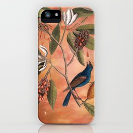 Blue Grosbeak with Sweetbay Magnolia, Vintage Natural History and Botanical iPhone Case