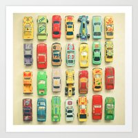 yellow Art Prints featuring Car Park by Cassia Beck