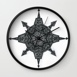 Aztec compass Wall Clock
