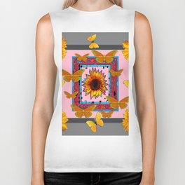 SOUTHWEST ART BUTTERFLIES SUNFLOWERS Biker Tank