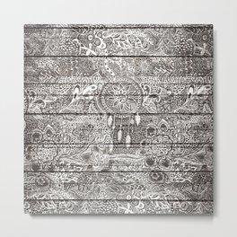 Boho white rustic dreamcatcher floral doodles brown striped wood Metal Print