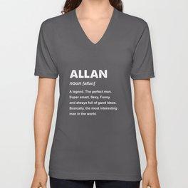 Allan Name Gift design Unisex V-Neck