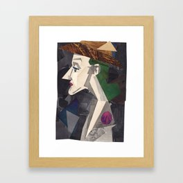 Traveling Lady Collage Portrait Framed Art Print