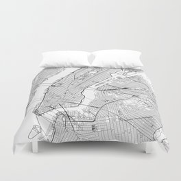 New York City White Map Duvet Cover