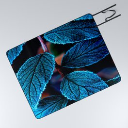 Peacock Blue Leaves Nature Background #decor #society6 #buyart Picnic Blanket