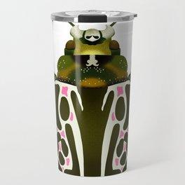 Green, White, Pink Beetle Travel Mug
