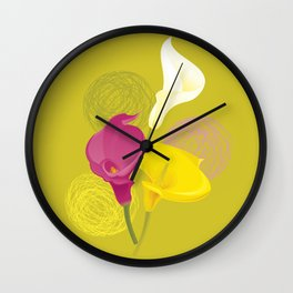 Colorful Calla Lilies Wall Clock