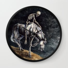 Skeleton Riding a Pale Horse Wall Clock
