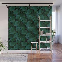 Monstera (Jungle) - Teal x Black Wall Mural