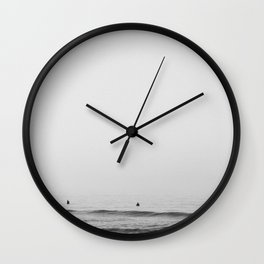 Surfers - Black and White Ocean Photography Huntington Beach California Wall Clock