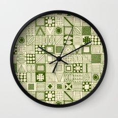 wolf geo green ivory Wall Clock