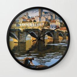 Limoges vintage travel poster Wall Clock