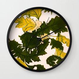 Hello fall, mustard yellow Wall Clock