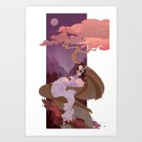 snow white Art Prints featuring Snow White by Ann Marcellino