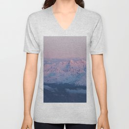 Perfect sunrise in South Tyrol - Landscape and Nature Photography Unisex V-Neck