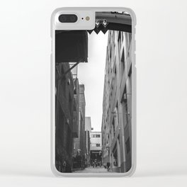 Post Alley in Seattle Washington - Black and White Clear iPhone Case