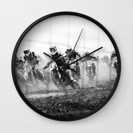 Motocross black white Wall Clock