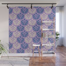Mid Century Modern Flower Pattern Lavender and Blue 112 Wall Mural