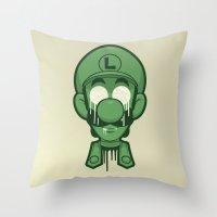 luigi Throw Pillows featuring Mirrored Luigi by Eric Koschnick