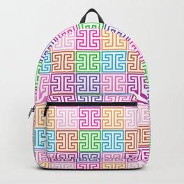 Greek Keys in Rainbow Backpack