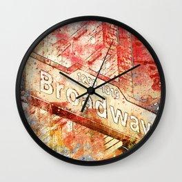Broadway street sign mixed media art Wall Clock
