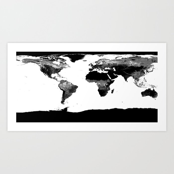 World Map  Black & White Art Print