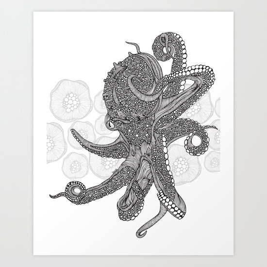 Octopus Bloom black and white Art Print