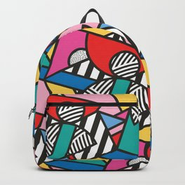 Colorful Memphis Modern Geometric Shapes - Tribal Kente African Aztec Backpack