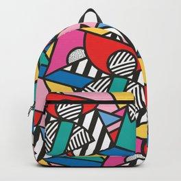 Colorful Memphis Modern Geometric Shapes - Tribal Kente African Aztec Backpack