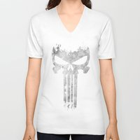 punisher V-neck T-shirts featuring The Punisher  by Ricardo A.