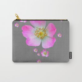 WILD PINK ROSE CASCADE ON GREY Carry-All Pouch