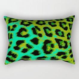 Aqua and Apple Green Leopard Spots Rectangular Pillow