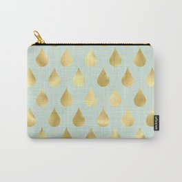 Golden Yellow Raindrops on Sage Green Background Carry-All Pouch