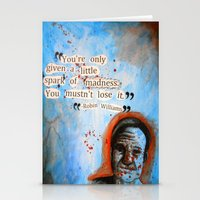 robin williams Stationery Cards featuring Robin Williams Poster/Quote by linziexdiane