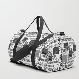 """Black and white pattern. """"Favourite coffee """" Duffle Bag"""
