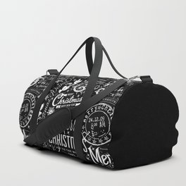 Black and White Christmas Typography Design Duffle Bag