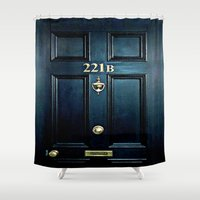 221b Shower Curtains featuring Baker st house 221b door iPhone 4 4s 5 5c 6, pillow case, mugs and tshirt by Greenlight8