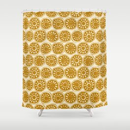 flower block gold ivory Shower Curtain