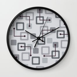 Midcentury 1950s Tiles & Squares Silver Wall Clock