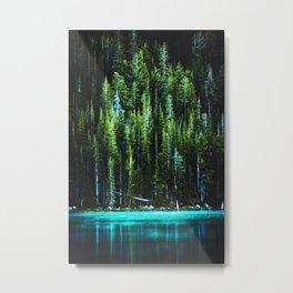 Emerald Pines Saphire Lake Metal Print