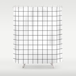 Grid Simple Line White Minimalistic Shower Curtain